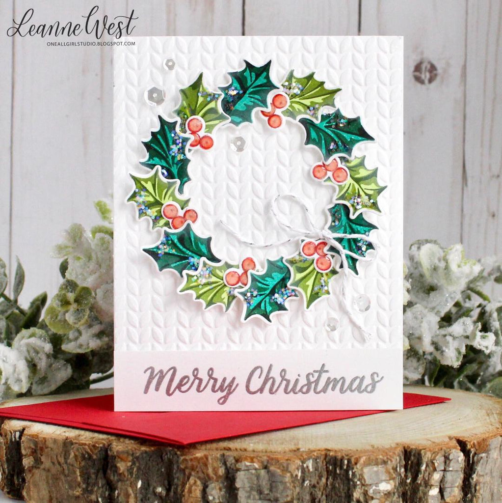 Sunny Studio Stamps Christmas Trimmings Holly Wreath Embossed Holiday Card