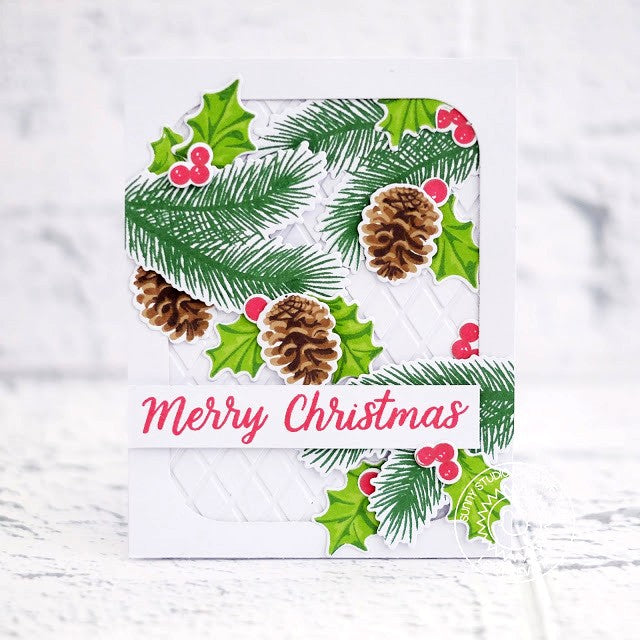 Sunny Studio Stamps Christmas Trimmings Pinecones and Holly Holiday Card by Lexa Levana