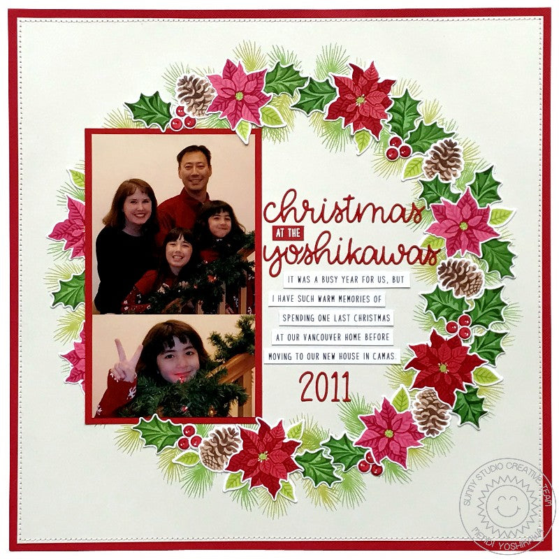 Sunny Studio Stamps Christmas Trimmings Poinsettia & Holly Wreath Holiday Scrapbook Page Layout