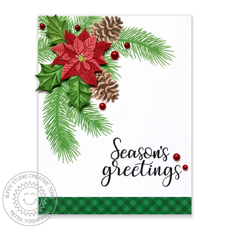 Sunny Studio Stamps Christmas Trimmings Season's Greetings Holly & Pine Cones Holiday Card