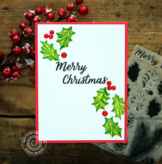 Sunny Studio Stamps Christmas Trimmings CAS Holly & Berries Holiday Card