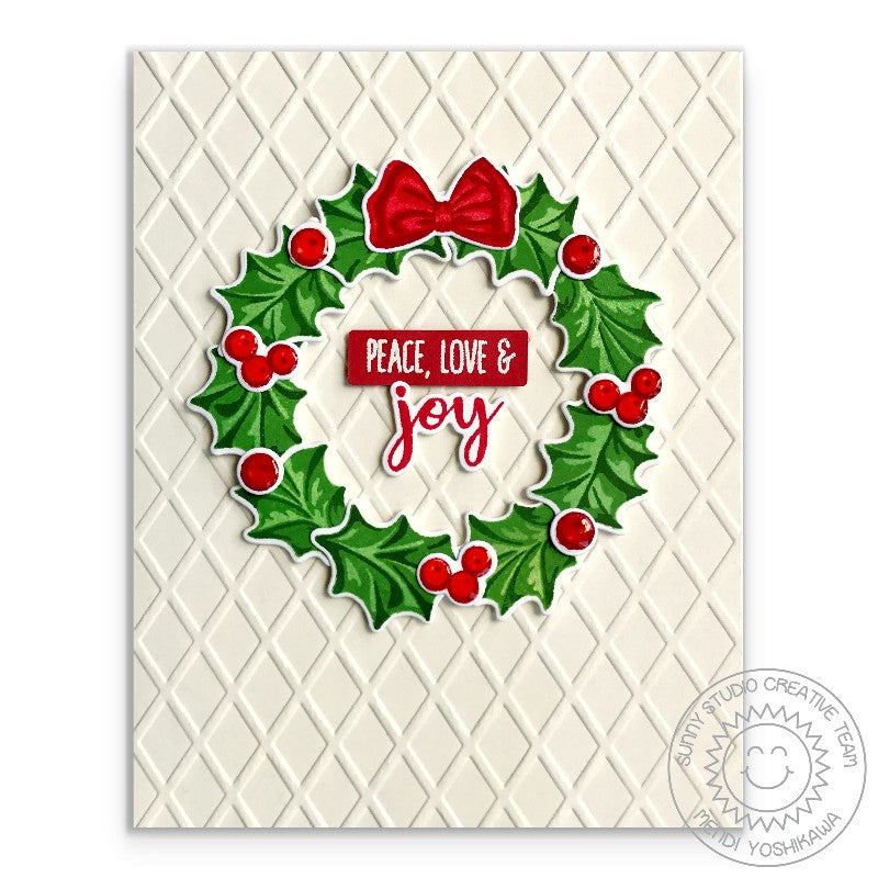 Sunny Studio Stamps Christmas Trimmings Holly Wreath Peace, Love & Joy Holiday Card