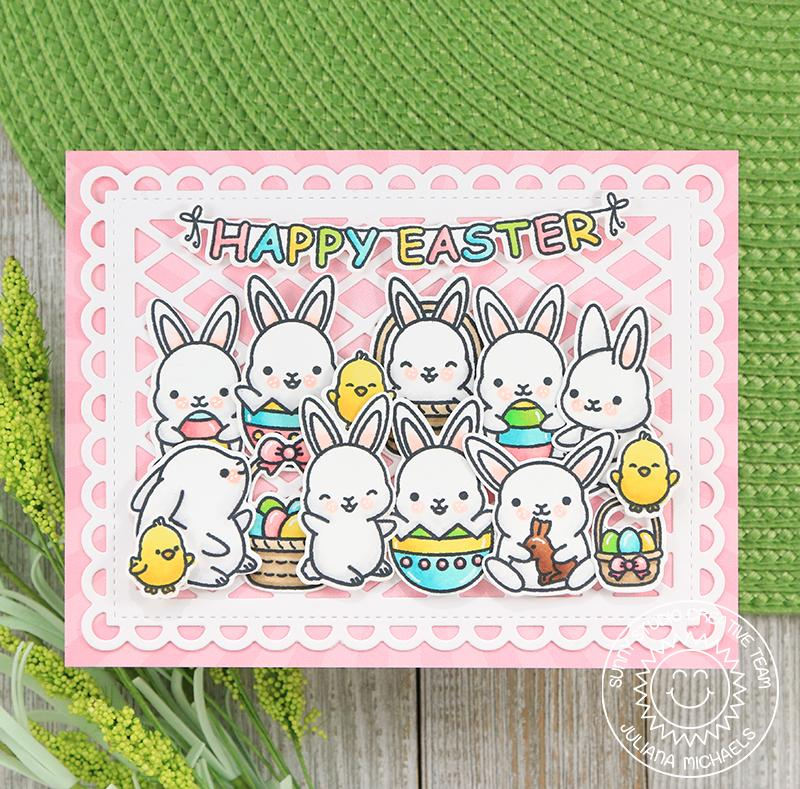 Sunny Studio Stamps Chubby Bunny Easter Party Card by Juliana Michaels