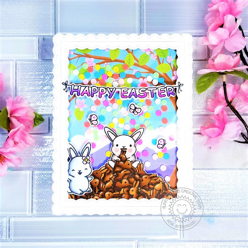Sunny Studio Stamps Chubby Bunny Eating Chocolate Rabbits Handmade Easter Shaker Card by Ana Anderson