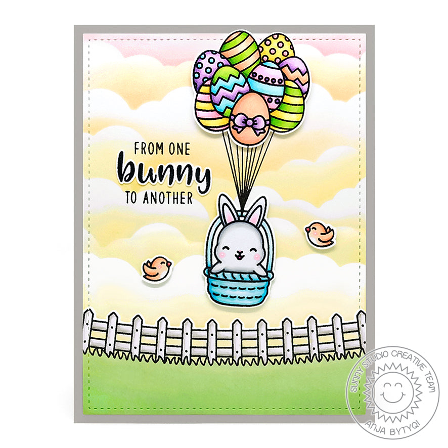 Sunny Studio Stamps Rabbit in Easter Basket turned into Hot Air Balloon Easter Eggs Handmade Card (using Chubby Bunny 4x6 Clear Photopolymer Stamp Set)
