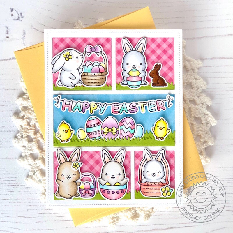 Sunny Studio Stamps Happy Easter Bunny Themed Gingham Card (using Comic Strip Everyday Dies)