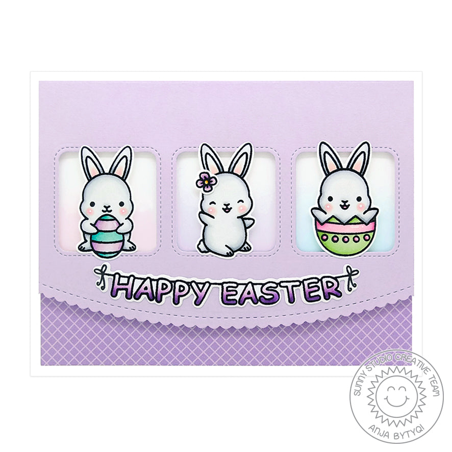 Sunny Studio Stamps Chubby Bunny Lavender Easter Card (using Window Trio Square Die)