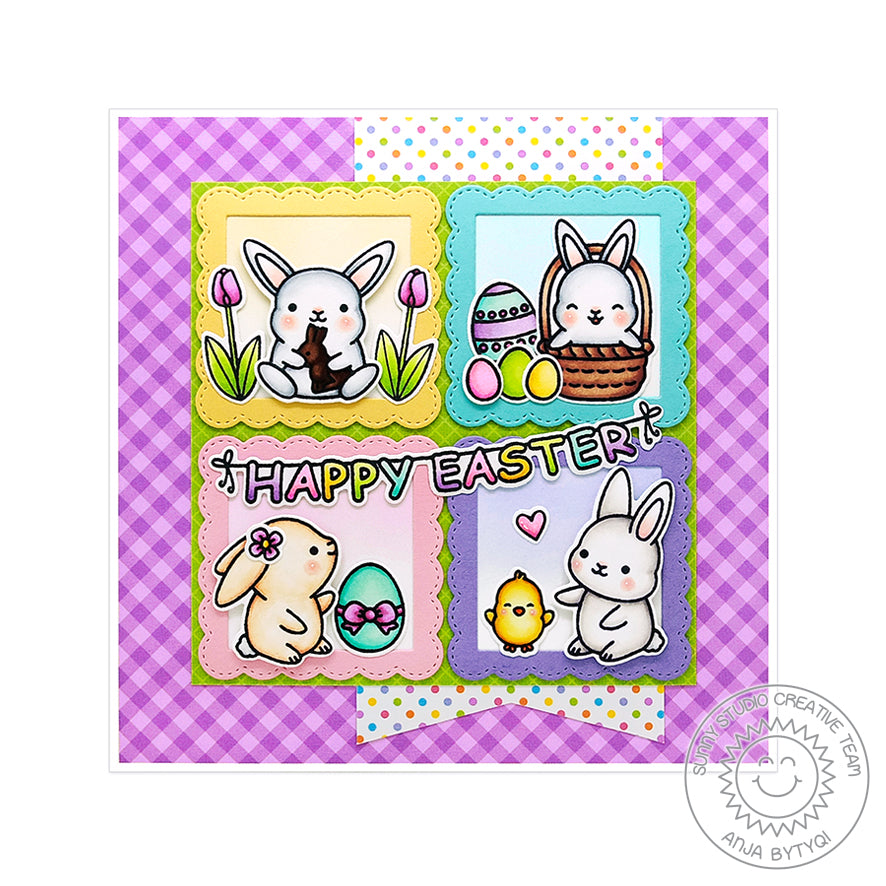 Sunny Studio Stamps Chubby Bunny Grid-Style Square Easter Card