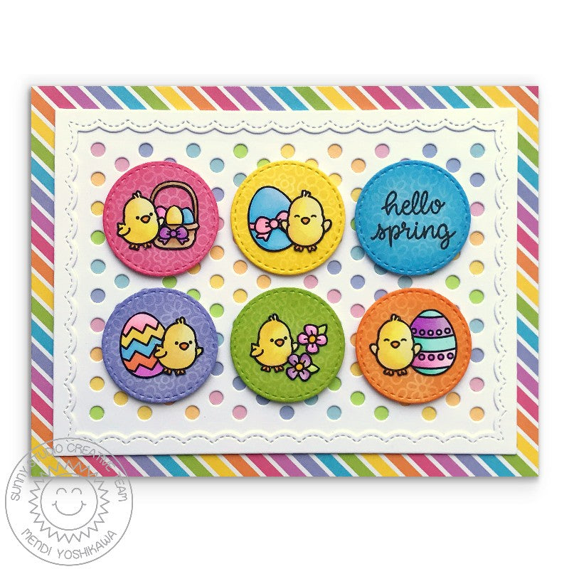 Sunny Studio Stamps Rainbow Striped Easter Chick Card (using Spring Sunburst 6x6 Patterned Paper Pack)