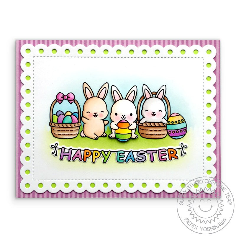 Sunny Studio Stamps Easter Bunny Card with stitched scallop mat (using Frilly Frames Polka-Dot Dies)