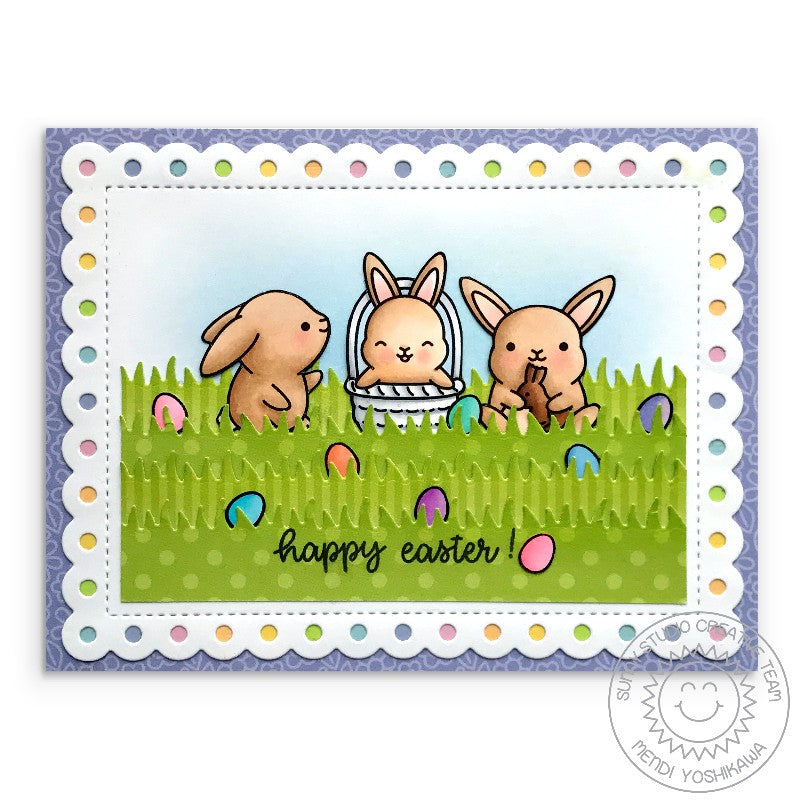 Sunny Studio Stamps Chubby Bunny Rabbit Easter Egg Hunt Card