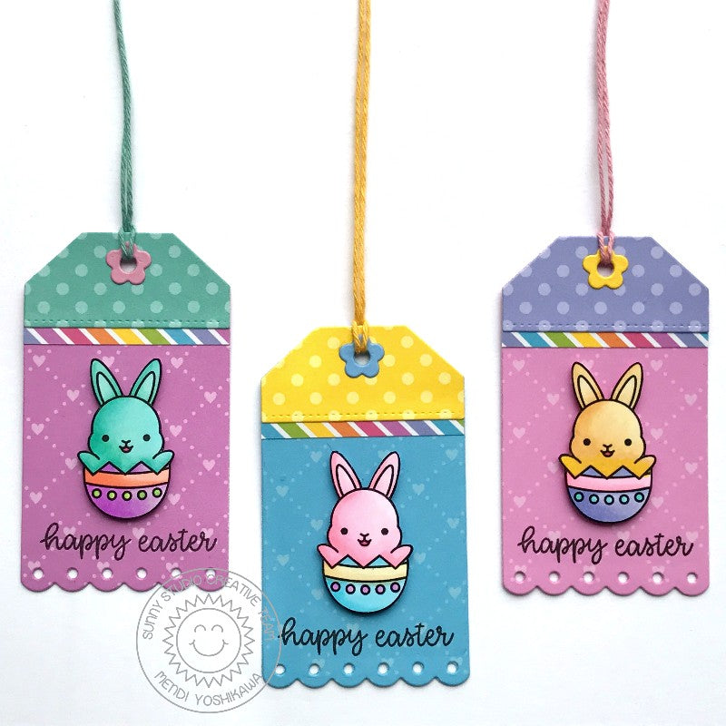 Sunny Studio Stamps Easter Bunny in Egg Gift Tags (using Flirty Flowers 6x6 Patterned Paper Pack)
