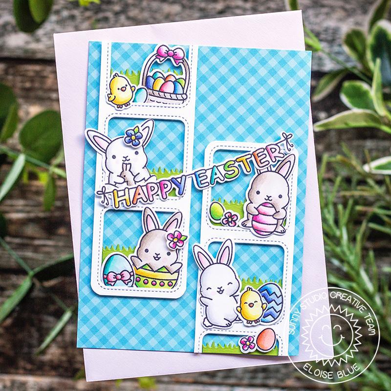 Sunny Studio Stamps Chubby Bunny Comic Strip Easter Card by Eloise Blue (using Window Trio Square Dies)