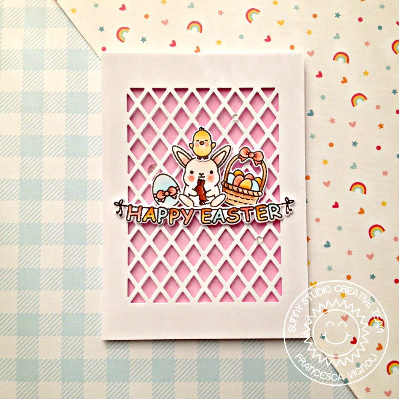 Sunny Studio Stamps Chubby Bunny Lattice Easter Card by Franci