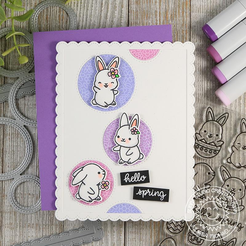 Sunny Studio Stamps Chubby Bunny Lilac Easter Card using Staggered Circles die