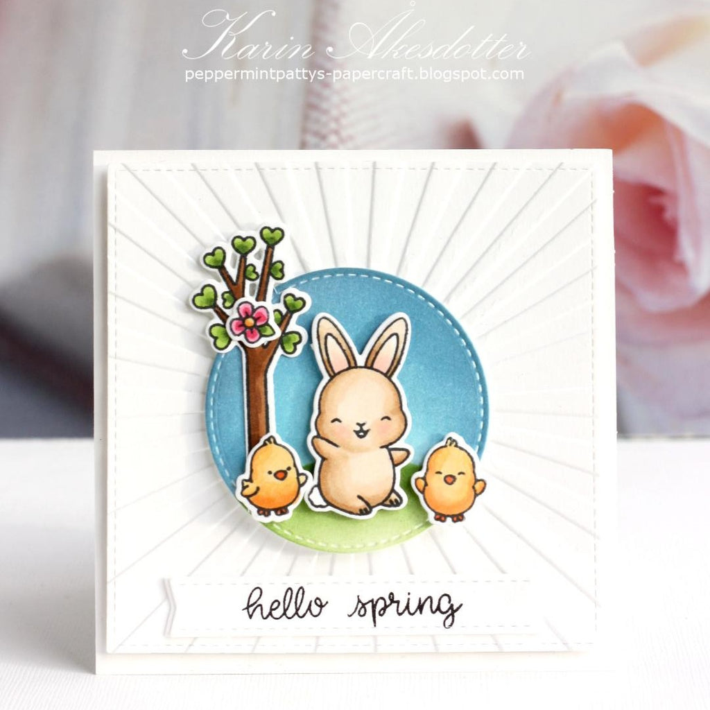 Sunny Studio Stamps Embossed Easter Card (using Sunburst Sun Ray 6x6 Embossing Folder)