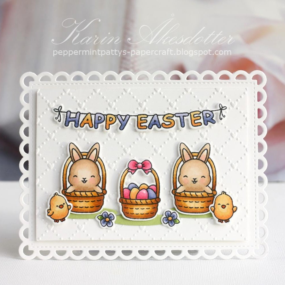 Sunny Studio Stamps Embossed Easter Bunny Card (using Quilted Hearts 6x6 Embossing Folder)