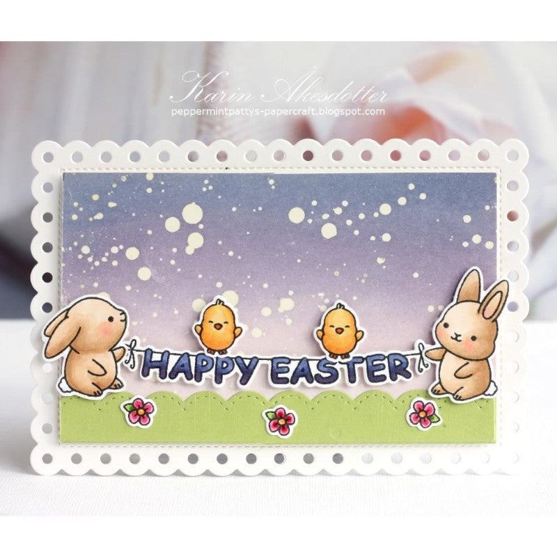 Sunny Studio Stamps Easter Bunny Card with scalloped edge (using Frilly Frames Polka-Dot Dies)