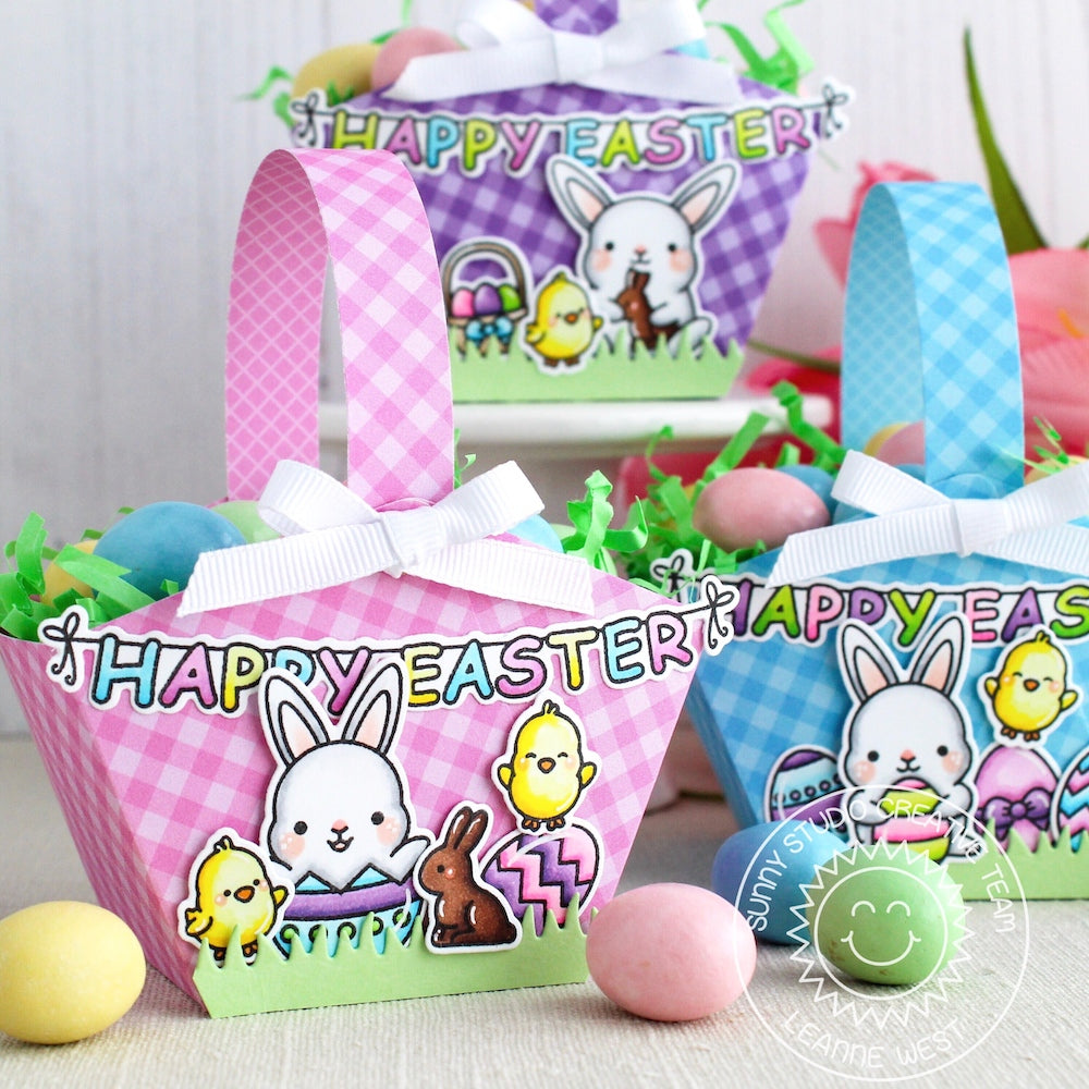 Sunny Studio Stamps Chubby Bunny Easter Basket Gift Bags by Leanne West