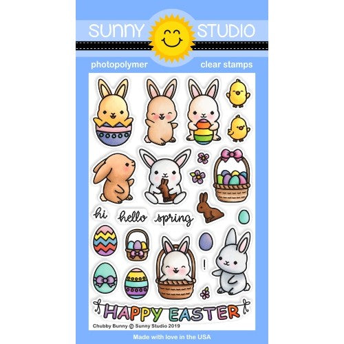 Sunny Studio Stamps Chubby Bunny Rabbit Easter 4x6 Photopolymer Clear Stamp Set