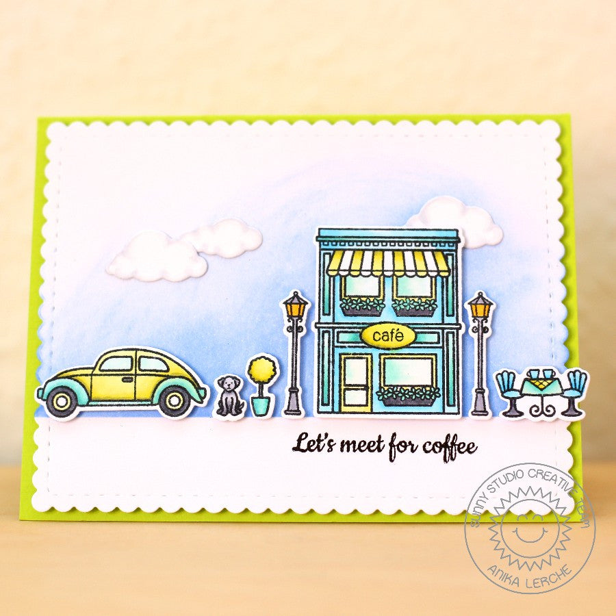 Sunny Studio Stamps City Streets Let's Meet For Coffee Downtown Card