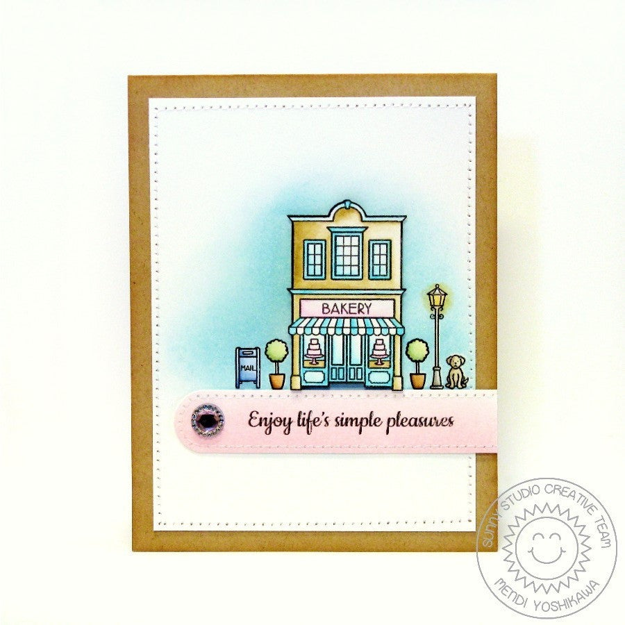 Sunny Studio Stamps City Streets Bakery Card