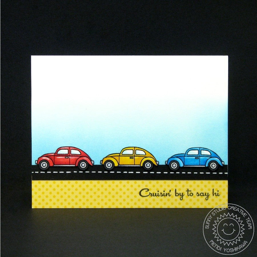 Sunny Studio Stamps City Streets Cruising By To Say Hi VW Bug Car Card
