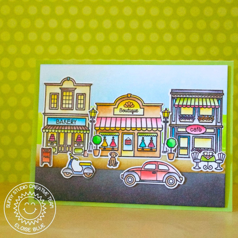 Sunny Studio Stamps City Streets Downtown Scene Card
