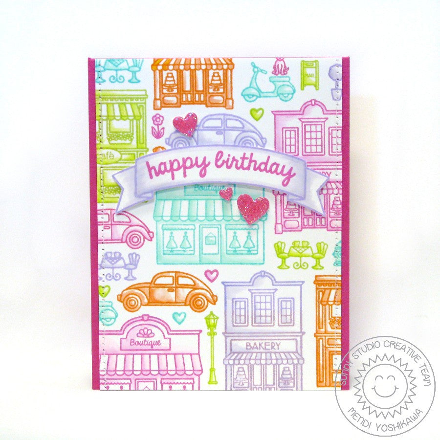 Sunny Studio Stamps City Streets Rainbow Downtown Birthday Card