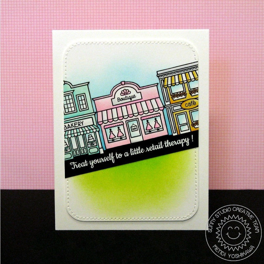 Sunny Studio Stamps City Streets Retail Therapy Downtown Shops Card