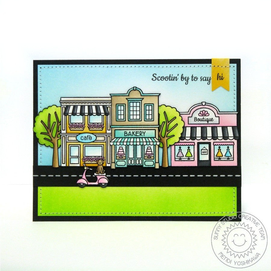 Sunny Studio Stamps City Streets Cute Shops Card
