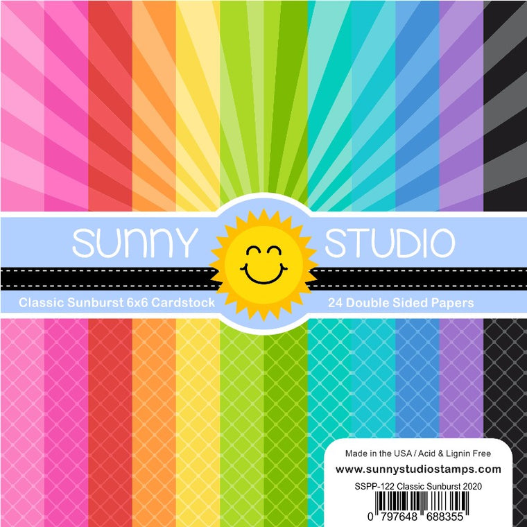 Sunny Studio Stamps Classic Sunburst 6x6 Double Sided Sun Rays and Diagonal Grid Patterned Paper Pad Pack