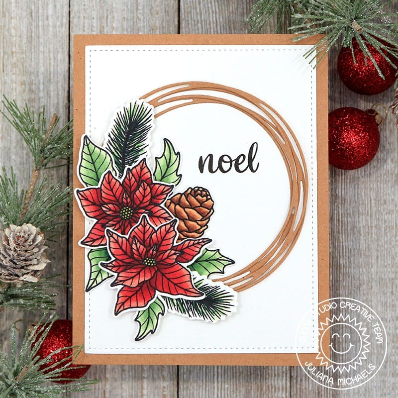 Sunny Studio Stamps Noel Rustic Poinsettia, Holly & Pinecones Holiday Christmas Card with Loopy Circle frame (using Classy Christmas Stamps)
