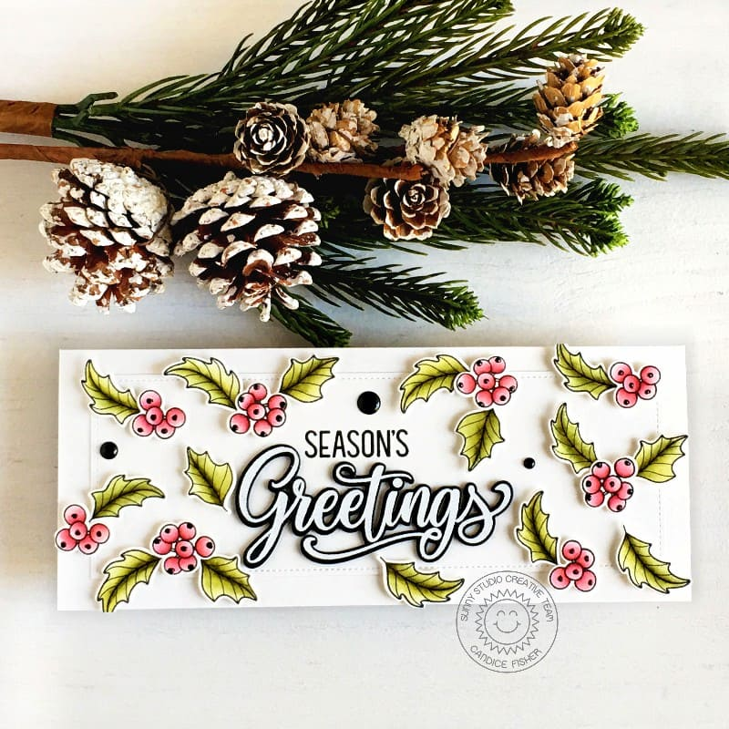 Sunny Studio Season's Greetings Holly & Berries Handmade Holiday Slimline Card (using Classy Christmas 4x6 Clear Photopolymer Stamps)