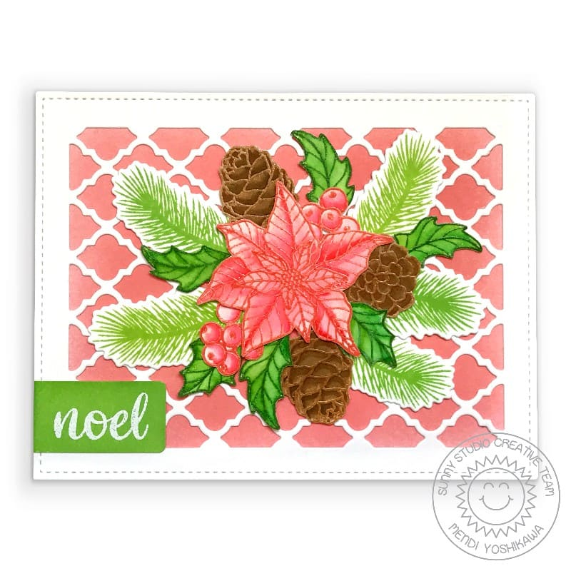 Sunny Studio Stamps Coral Poinsettia, Pinecones, Holly & Berries Handmade Holiday Card (using Classy Christmas 4x6 Clear Photopolymer Stamp Set)