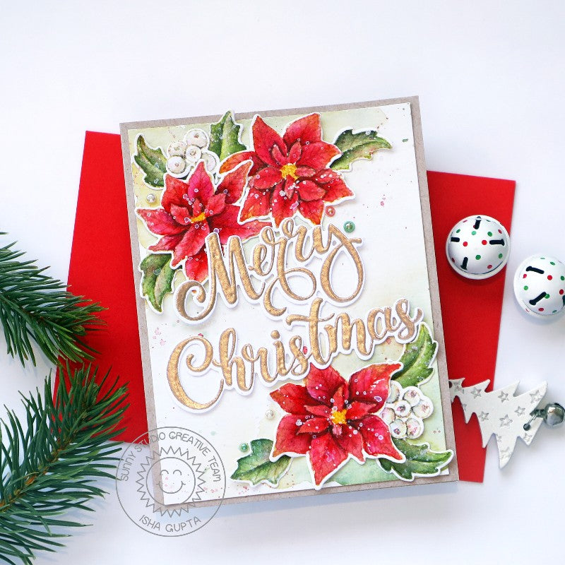 Sunny Studio Stamps Merry Christmas Oversized Greeting Poinsettia Watercolor No Line Coloring Holiday Card (using Season's Greetings Word Metal Cutting Dies)