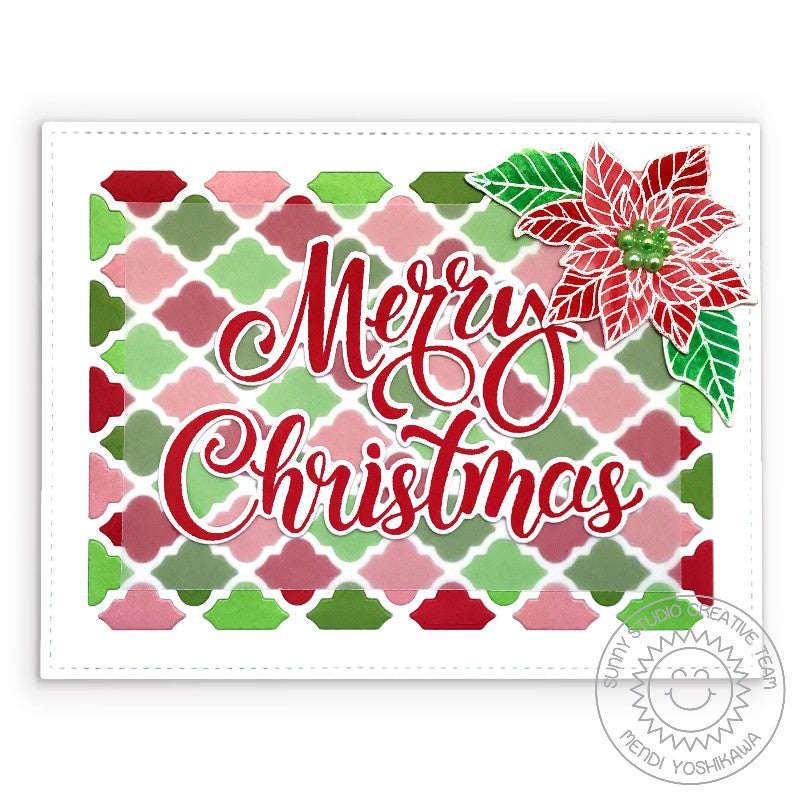 Sunny Studio Stamps Merry Christmas Red, Green & Pink Embossed Poinsettia Handmade Holiday Card (using Season's Greetings Word Dies)