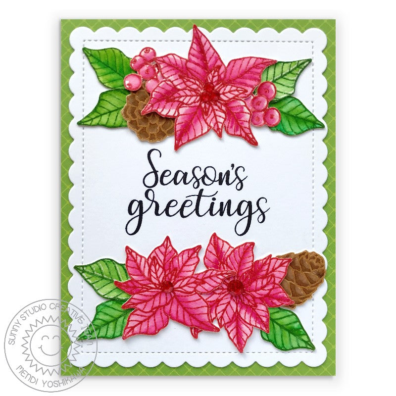 Sunny Studio Stamps Season's Greetings Watercolor Poinsettia Holiday Christmas Card with Green Diagonal Grid Print (using Classic Sunburst 6x6 Double Sided Patterned Paper Pack)