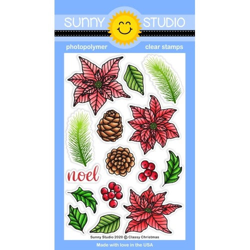 Sunny Studio Stamps Classy Christmas 4x6 Clear Photopolymer Stamp Set featuring holiday Poinsettia Flower, Pine Cones, Holly, Berries, Tree Sprig Branch & Noel Greeting