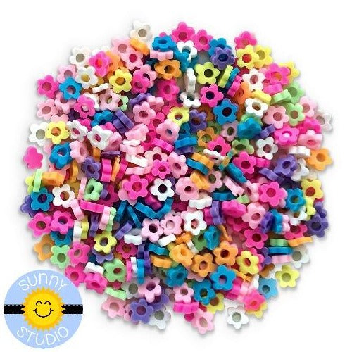 Sunny Studio Stamps Rainbow Clay Flower Confetti Sprinkles Embellishments for Shaker Cards