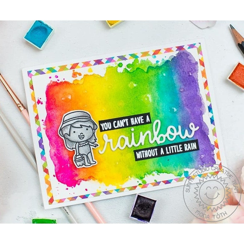 Sunny Studio Stamps Coastal Cuties Rainbow Watercolor Card by Mona Toth