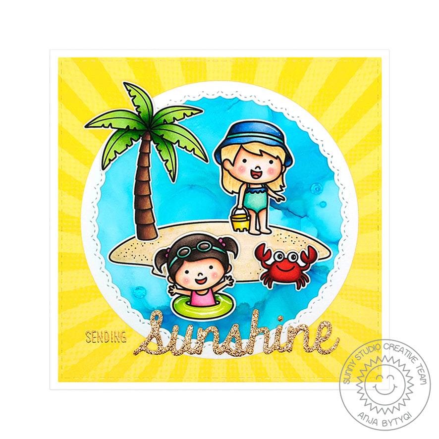 Sunny Studio Stamps Coastal Cuties Hello Sunshine Square Card (using Spring Sunburst 6x6 Paper)