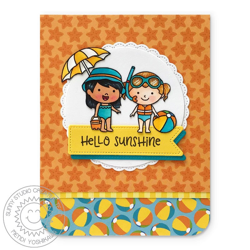 Sunny Studio Stamps Coastal Cuties Hello Sunshine Beach Themed Card (using Summer Splash 6x6 Paper)