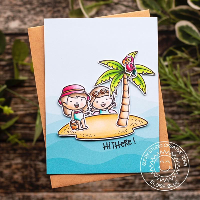 Sunny Studio Stamps Seasonal Trees Beach Themed Summer Island Card with Palm Tree