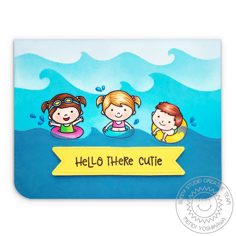 Sunny Studio Stamps Coastal Cuties Kids with Floaties Card (using Catch a Wave Dies)