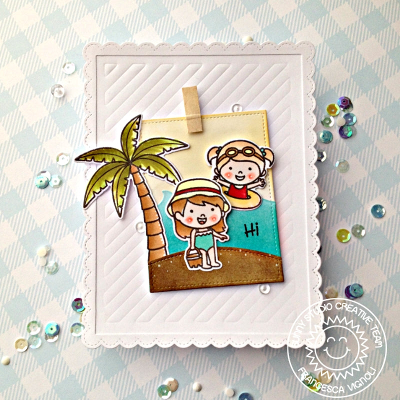 Sunny Studio Stamps Beach Girl with Palm Trees Striped Embossed Card (using Frilly Frames Stripes Die)