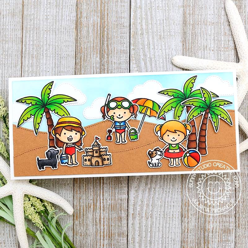 Sunny Studio Stamps Sandy Beach Elongated Card (using Stitched Fluffy Cloud Dies)
