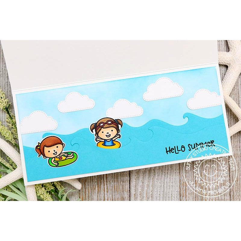 Sunny Studio Stamps Hello Summer Ocean Waves With Floaties Card (using stitched fluffy clouds cutting dies)
