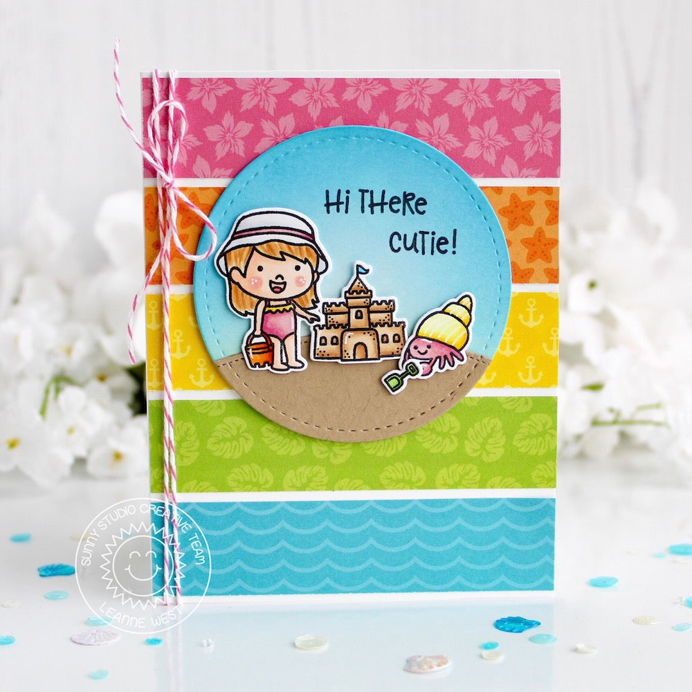 Sunny Studio Stamps Coastal Cuties Summer Beach Themed Card (using Summer Splash 6x6 Patterned Paper)