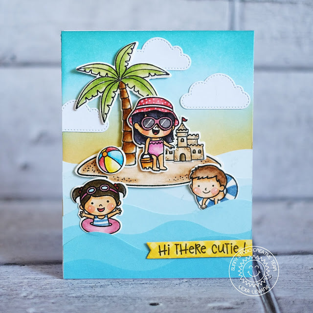 Sunny Studio Island Sand Castle & Beach Ball Summer Card (using Palm Tree from Seasonal Trees Stamps)